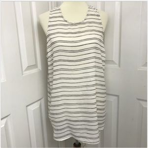 Who What Wear Sleeveless Tank White Black Stripe